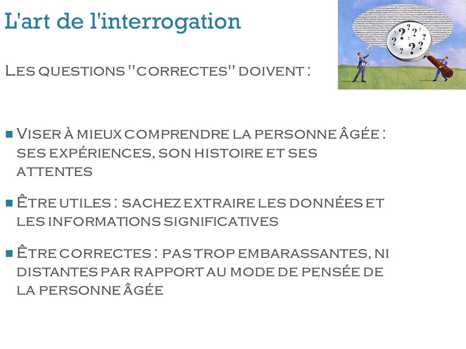 L'art de l'interrogation Les questions