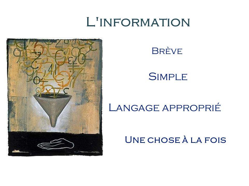 Simple Langage approprié L information Une chose à la fois Brève