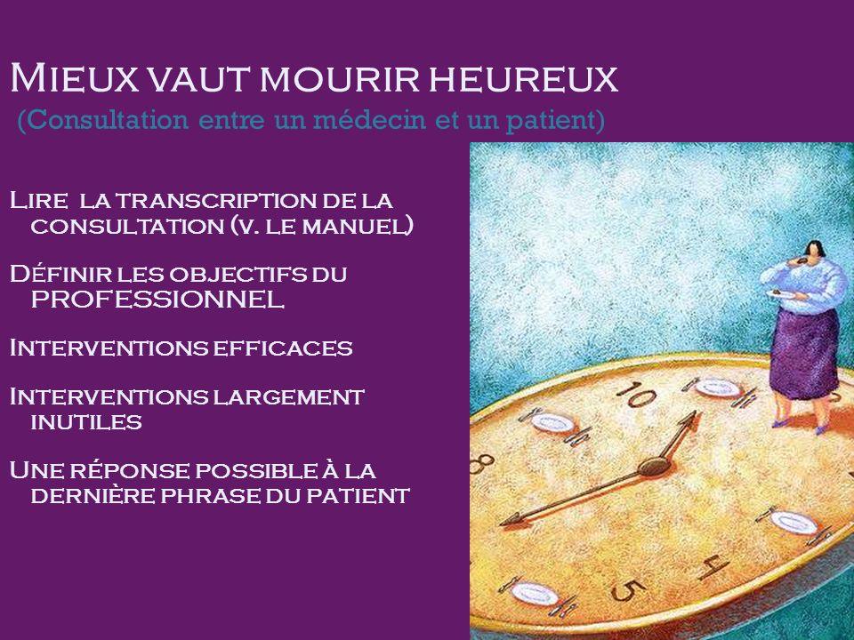 Mieux vaut mourir heureux (Consultation entre un médecin et un patient) Lire la transcription de la consultation (v.