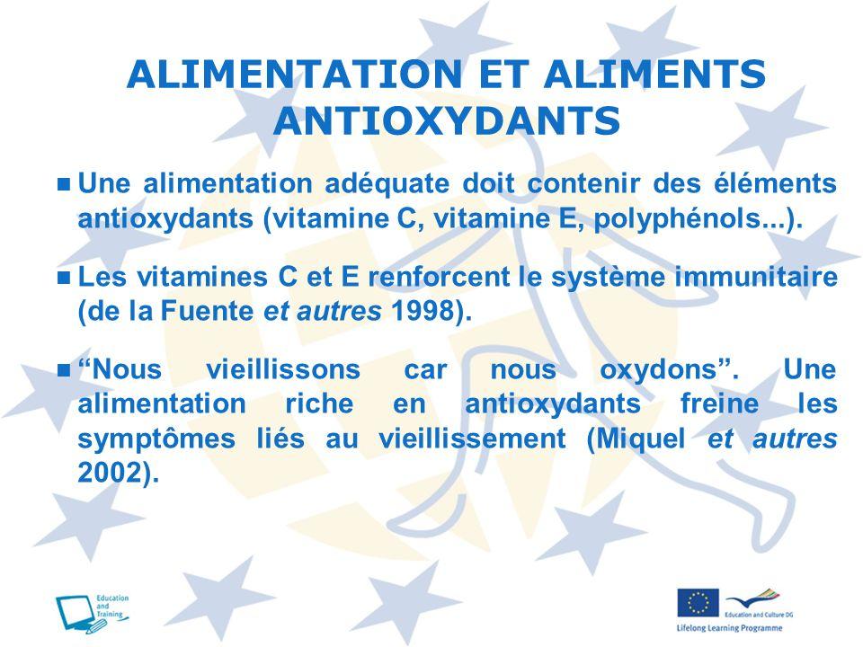 Une alimentation adéquate doit contenir des éléments antioxydants (vitamine C, vitamine E, polyphénols...). Les vitamines C et E renforcent le système