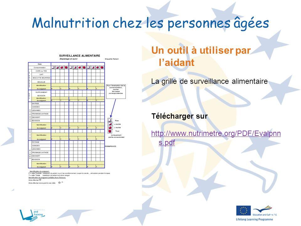 10 Malnutrition chez les personnes âgées Un outil à utiliser par laidant La grille de surveillance alimentaire Télécharger sur http://www.nutrimetre.o