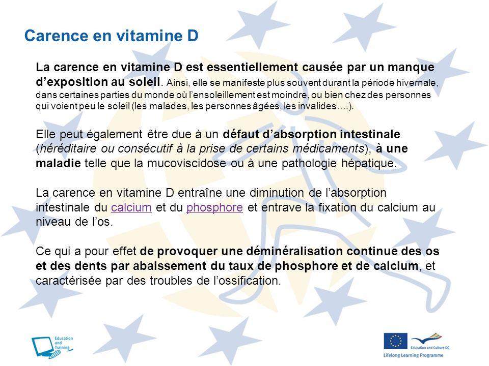 Carence en vitamine D La carence en vitamine D est essentiellement causée par un manque dexposition au soleil. Ainsi, elle se manifeste plus souvent d