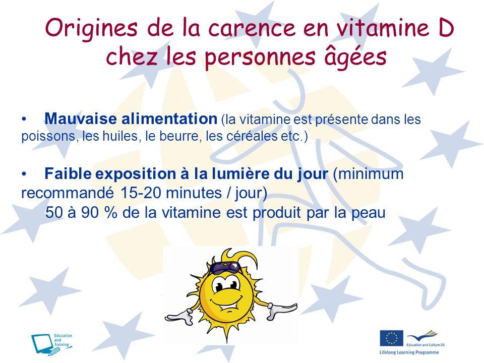 17 Origines de la carence en vitamine D chez les personnes âgées Mauvaise alimentation (la vitamine est présente dans les poissons, les huiles, le beu