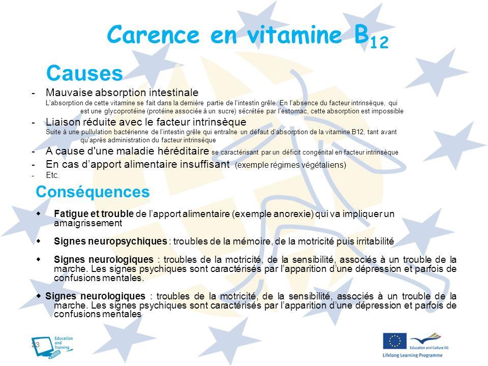 23 Carence en vitamine B 12 Causes - Mauvaise absorption intestinale L'absorption de cette vitamine se fait dans la dernière partie de l'intestin grêl