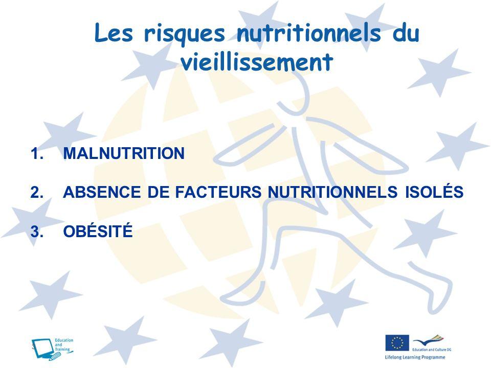 3 Les risques nutritionnels du vieillissement 1.MALNUTRITION 2.ABSENCE DE FACTEURS NUTRITIONNELS ISOLÉS 3.OBÉSITÉ