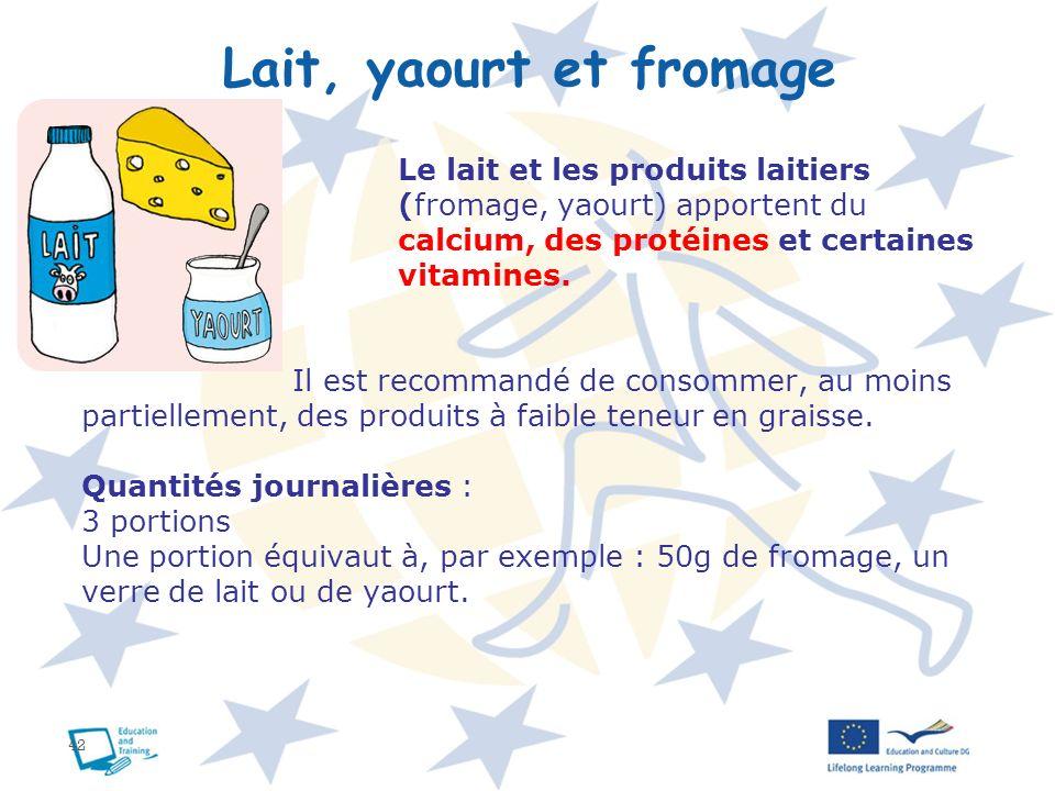 42 Lait, yaourt et fromage Le lait et les produits laitiers (fromage, yaourt) apportent du calcium, des protéines et certaines vitamines. Il est recom