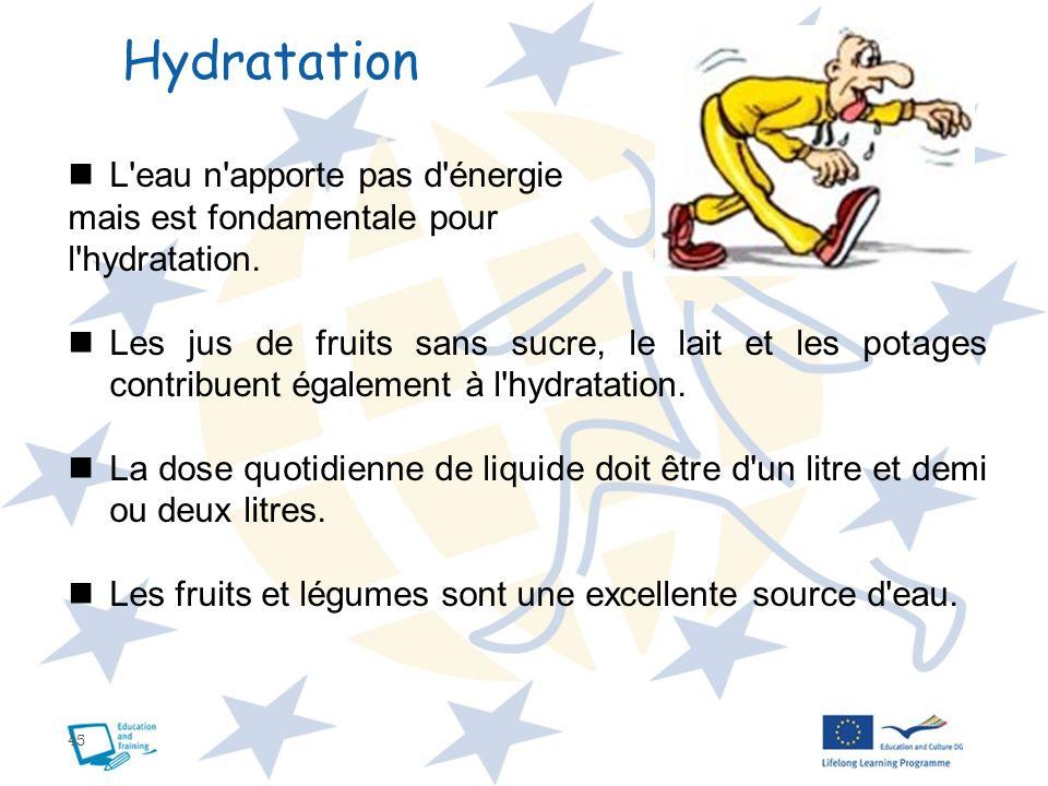 45 Hydratation L'eau n'apporte pas d'énergie mais est fondamentale pour l'hydratation. Les jus de fruits sans sucre, le lait et les potages contribuen