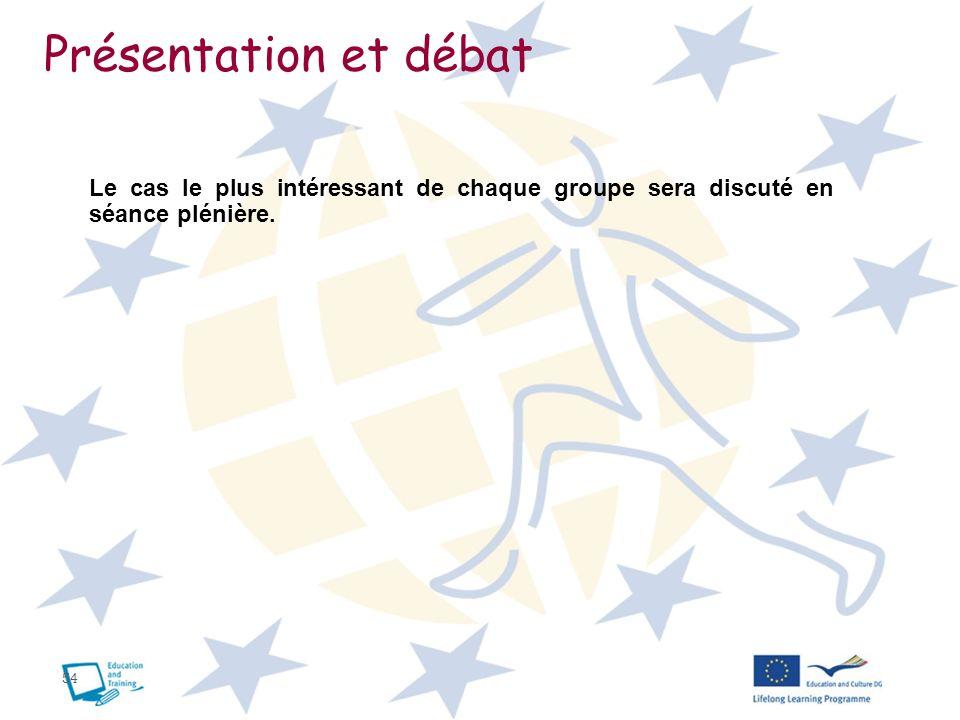 54 Présentation et débat Le cas le plus intéressant de chaque groupe sera discuté en séance plénière.