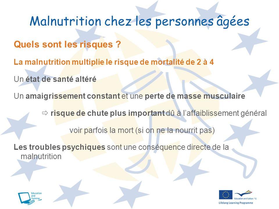 6 Malnutrition chez les personnes âgées Quels sont les risques ? La malnutrition multiplie le risque de mortalité de 2 à 4 Un état de santé altéré Un