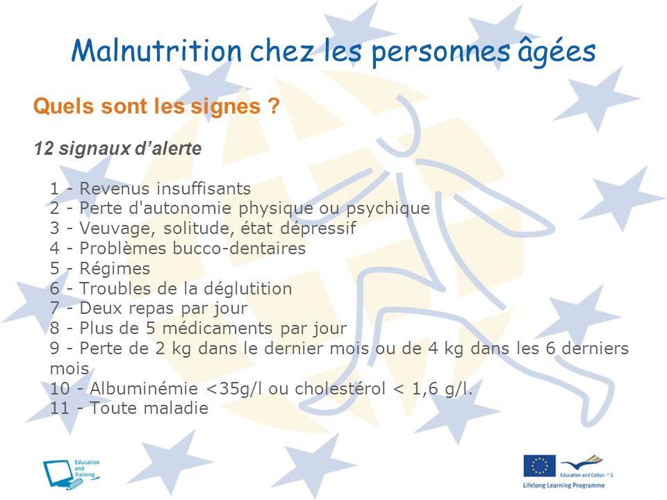 8 Malnutrition chez les personnes âgées Quels sont les signes ? 12 signaux dalerte 1 - Revenus insuffisants 2 - Perte d'autonomie physique ou psychiqu