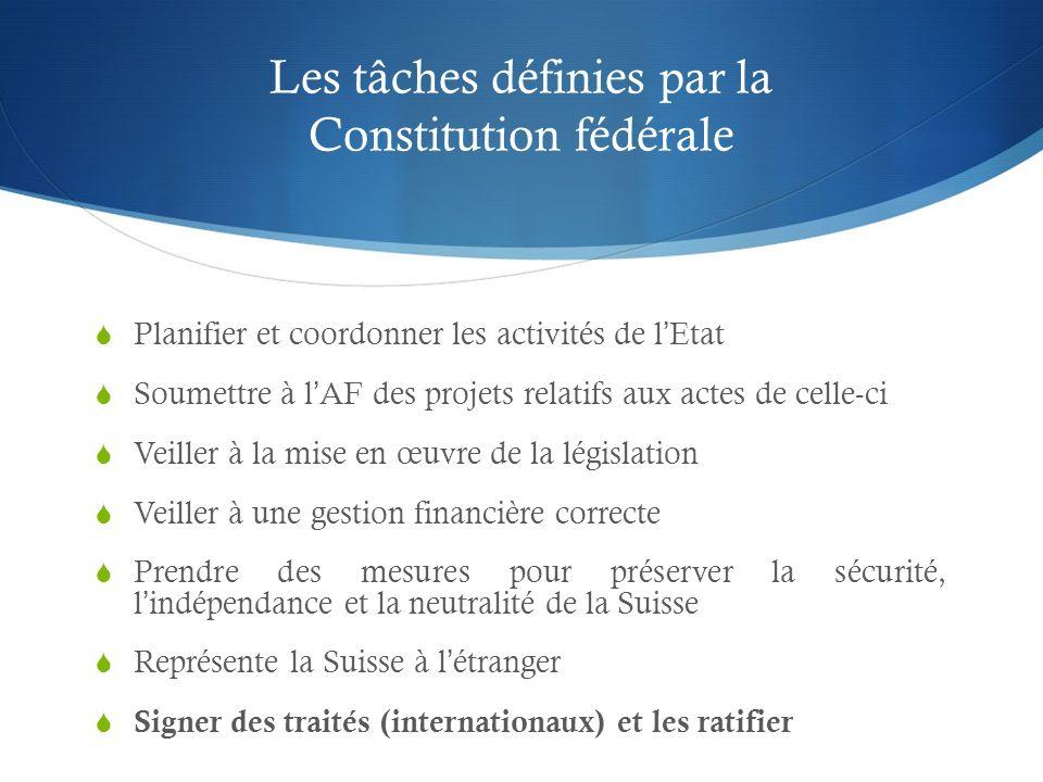 Les tâches définies par la Constitution fédérale Planifier et coordonner les activités de lEtat Soumettre à lAF des projets relatifs aux actes de cell