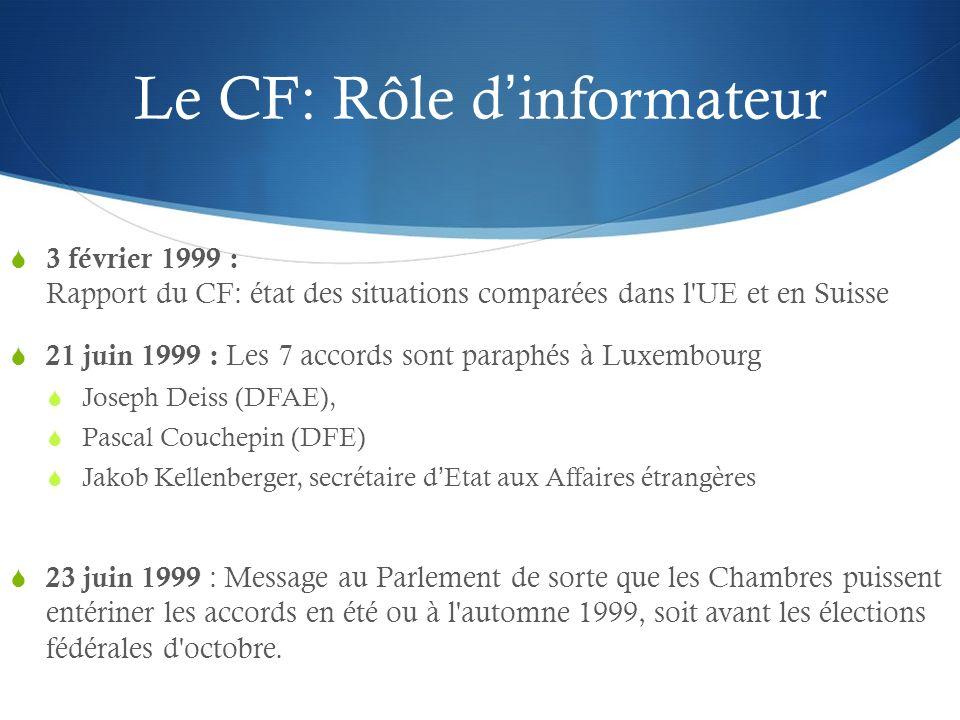 Le CF: Rôle dinformateur 3 février 1999 : Rapport du CF: état des situations comparées dans l'UE et en Suisse 21 juin 1999 : Les 7 accords sont paraph