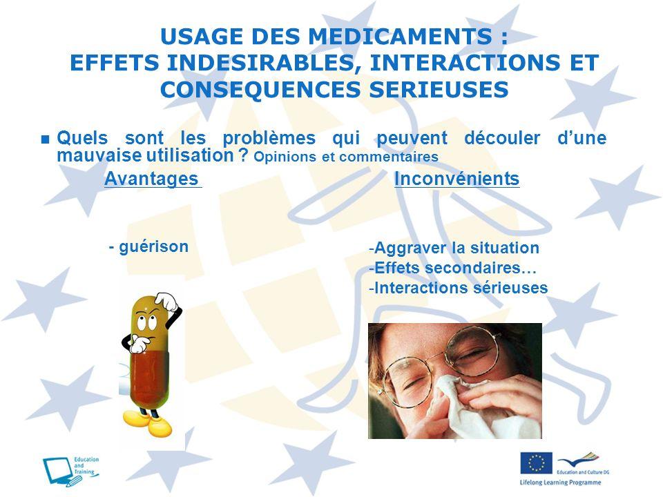 USAGE DES MEDICAMENTS : EFFETS INDESIRABLES, INTERACTIONS ET CONSEQUENCES SERIEUSES Quels sont les problèmes qui peuvent découler dune mauvaise utilis