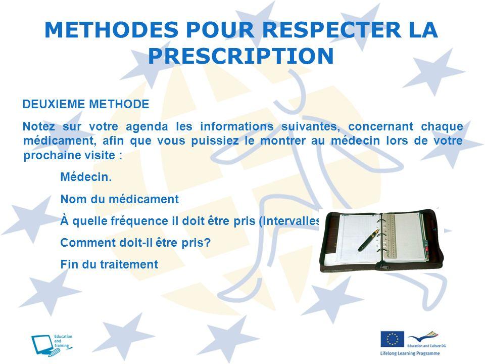 METHODES POUR RESPECTER LA PRESCRIPTION DEUXIEME METHODE Notez sur votre agenda les informations suivantes, concernant chaque médicament, afin que vou