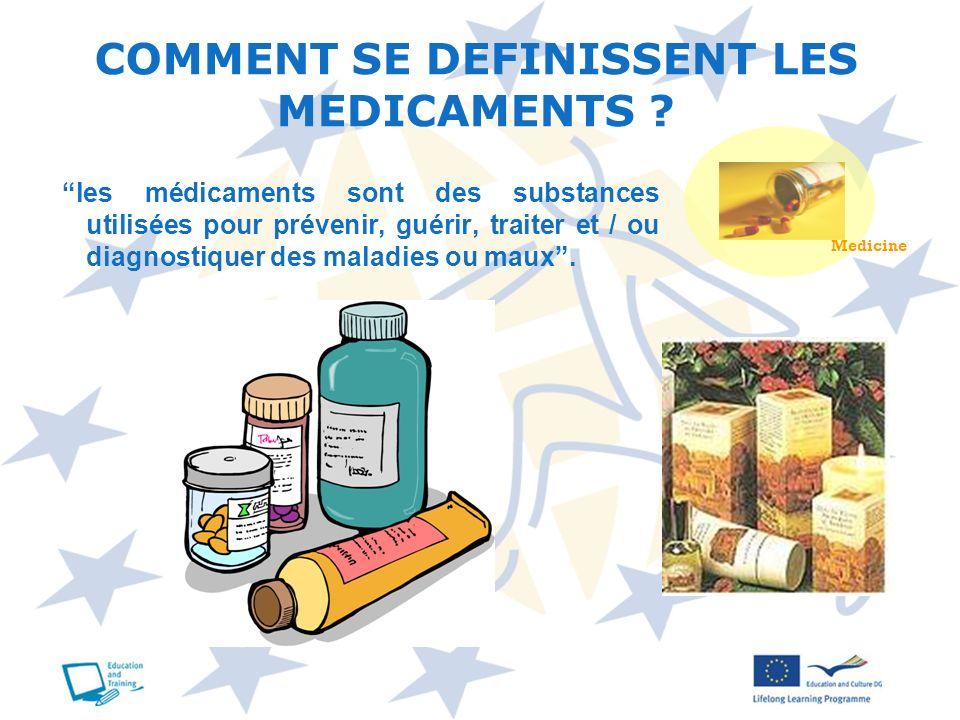 les médicaments sont des substances utilisées pour prévenir, guérir, traiter et / ou diagnostiquer des maladies ou maux. COMMENT SE DEFINISSENT LES ME