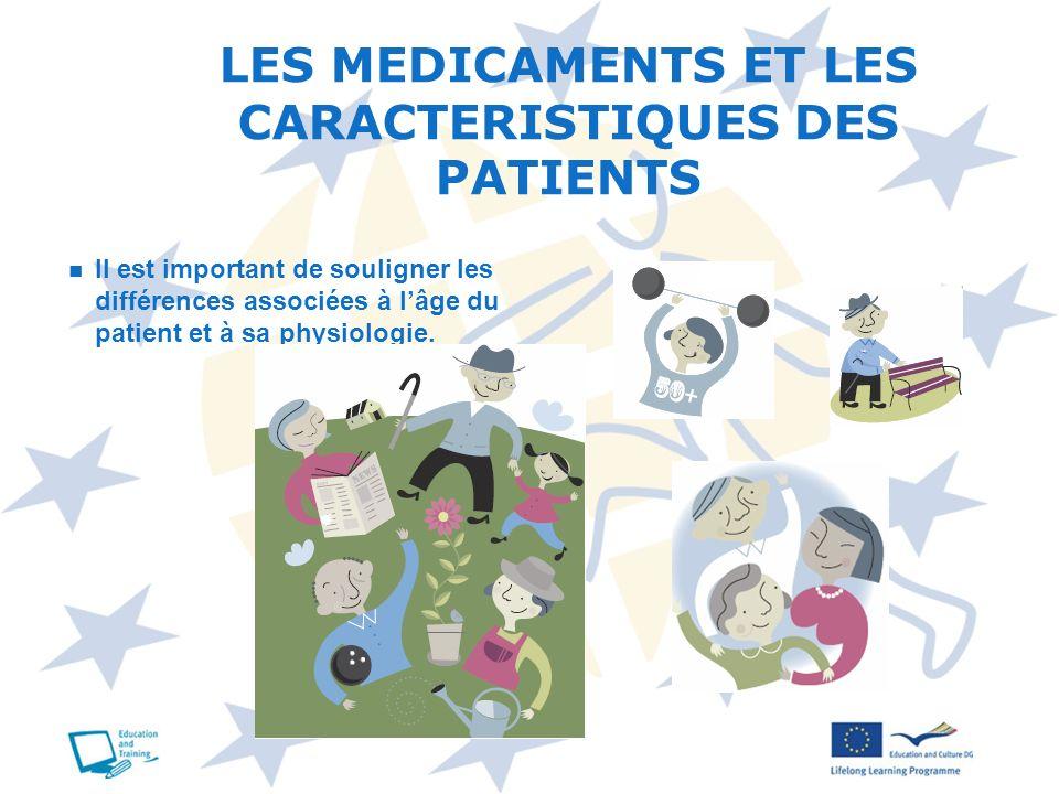 LES MEDICAMENTS ET LES CARACTERISTIQUES DES PATIENTS Il est important de souligner les différences associées à lâge du patient et à sa physiologie.
