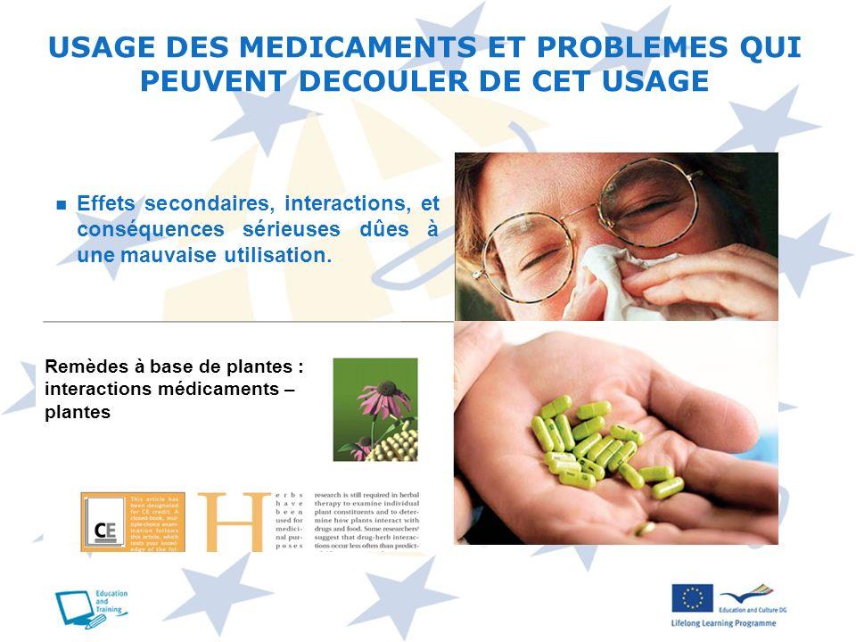 USAGE DES MEDICAMENTS : EFFETS INDESIRABLES, INTERACTIONS ET CONSEQUENCES SERIEUSES Quels sont les problèmes qui peuvent découler dune mauvaise utilisation .