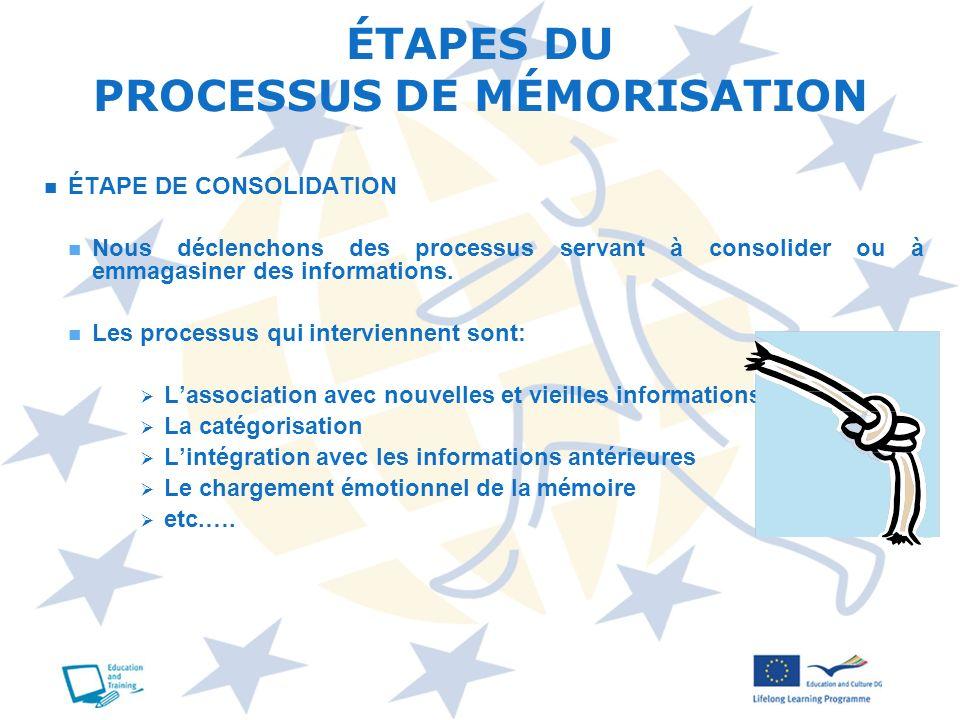 ÉTAPE DE CONSOLIDATION Nous déclenchons des processus servant à consolider ou à emmagasiner des informations. Les processus qui interviennent sont: La