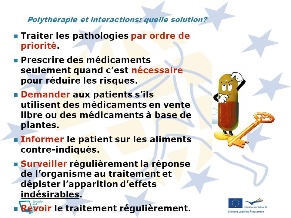Polythérapie et interactions: quelle solution? Traiter les pathologies par ordre de priorité. Prescrire des médicaments seulement quand cest nécessair