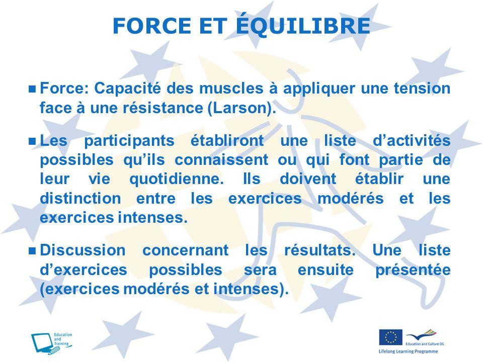 Force: Capacité des muscles à appliquer une tension face à une résistance (Larson). Les participants établiront une liste dactivités possibles quils c