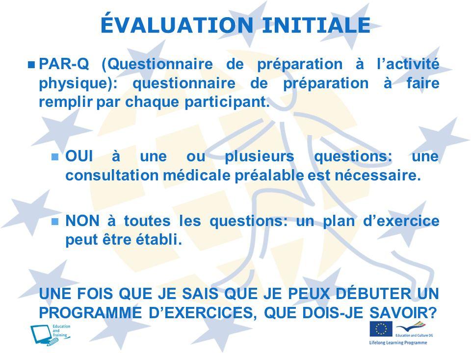 PAR-Q (Questionnaire de préparation à lactivité physique): questionnaire de préparation à faire remplir par chaque participant. OUI à une ou plusieurs