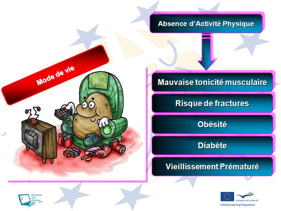 13 Absence dActivité Physique Mauvaise tonicité musculaire Risque de fractures ObésitéObésité DiabèteDiabète Vieillissement Prématuré Mode de vie