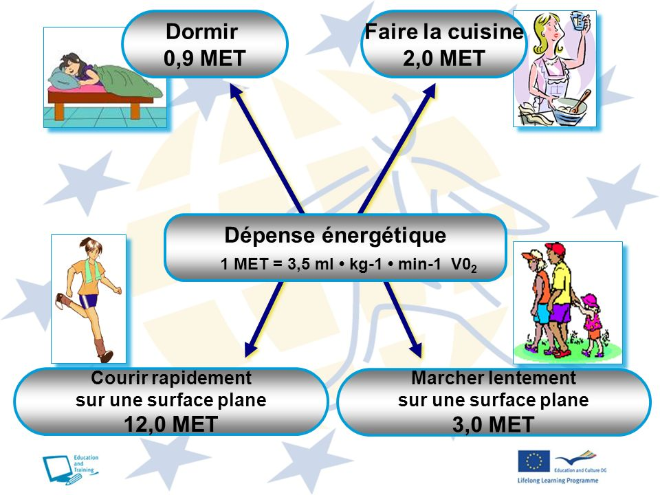 Marcher lentement sur une surface plane 3,0 MET Faire la cuisine 2,0 MET Dormir 0,9 MET Dépense énergétique 1 MET = 3,5 ml kg-1 min-1 V0 2 Courir rapi