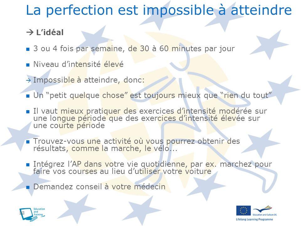 22 La perfection est impossible à atteindre Lidéal 3 ou 4 fois par semaine, de 30 à 60 minutes par jour Niveau dintensité élevé Impossible à atteindre