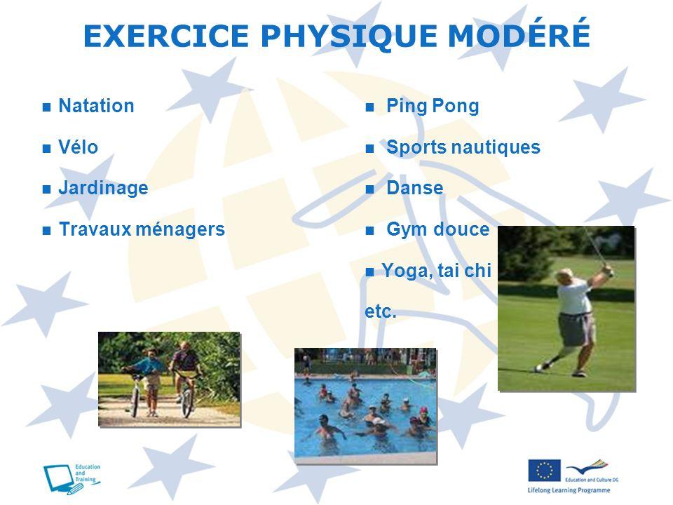 Natation Vélo Jardinage Travaux ménagers Ping Pong Sports nautiques Danse Gym douce Yoga, tai chi etc. EXERCICE PHYSIQUE MODÉRÉ