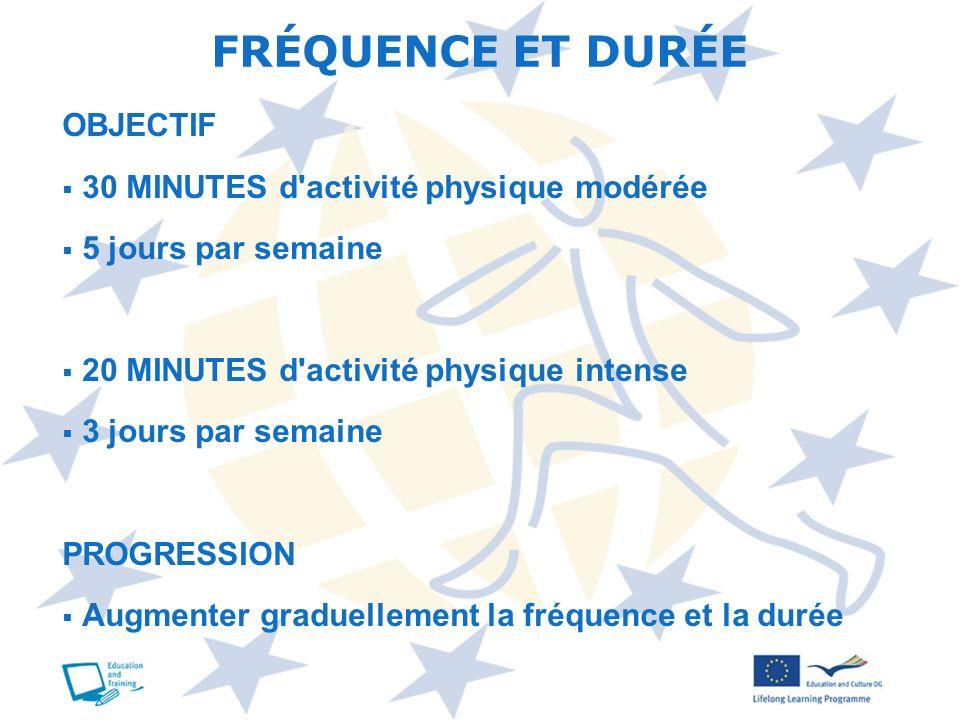 OBJECTIF 30 MINUTES d'activité physique modérée 5 jours par semaine 20 MINUTES d'activité physique intense 3 jours par semaine PROGRESSION Augmenter g