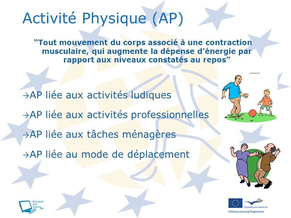 4 Activité Physique (AP) Tout mouvement du corps associé à une contraction musculaire, qui augmente la dépense dénergie par rapport aux niveaux consta