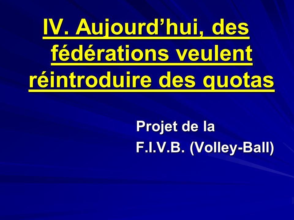 IV. Aujourdhui, des fédérations veulent réintroduire des quotas Projet de la F.I.V.B. (Volley-Ball)