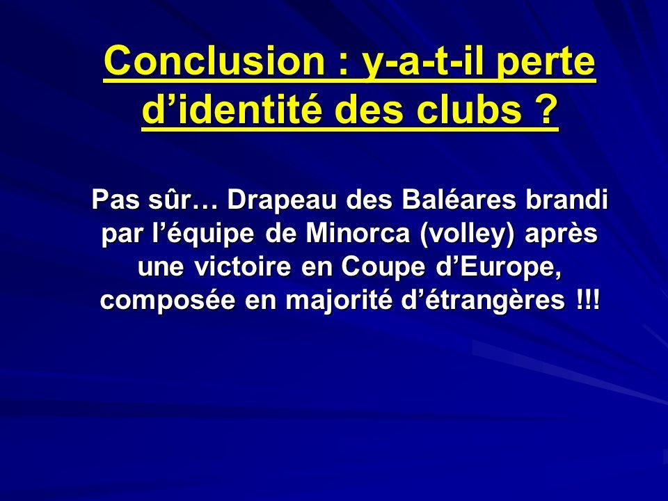 Conclusion : y-a-t-il perte didentité des clubs ? Pas sûr… Drapeau des Baléares brandi par léquipe de Minorca (volley) après une victoire en Coupe dEu