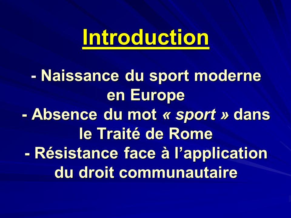 Introduction - Naissance du sport moderne en Europe - Absence du mot « sport » dans le Traité de Rome - Résistance face à lapplication du droit commun