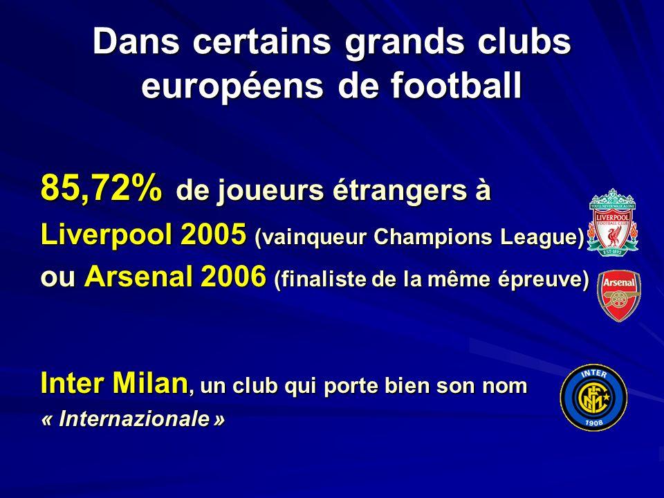 Dans certains grands clubs européens de football 85,72% de joueurs étrangers à Liverpool 2005 (vainqueur Champions League) ou Arsenal 2006 (finaliste