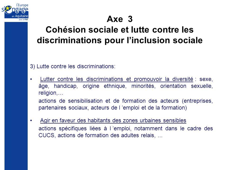 Axe 3 Cohésion sociale et lutte contre les discriminations pour linclusion sociale 3) Lutte contre les discriminations: Lutter contre les discriminati