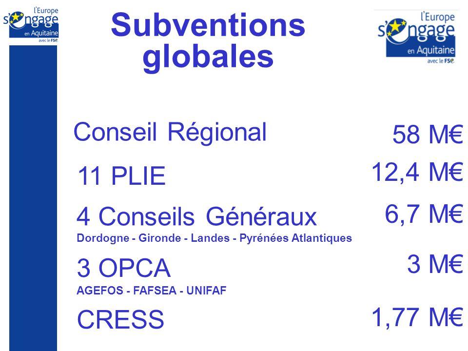 Subventions globales CRESS 58 M 12,4 M 6,7 M 3 M 1,77 M 11 PLIE Conseil Régional 3 OPCA AGEFOS - FAFSEA - UNIFAF 4 Conseils Généraux Dordogne - Gironde - Landes - Pyrénées Atlantiques
