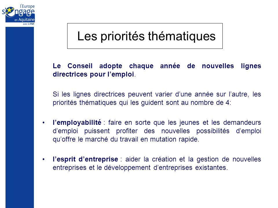 Les priorités thématiques Le Conseil adopte chaque année de nouvelles lignes directrices pour lemploi. Si les lignes directrices peuvent varier dune a