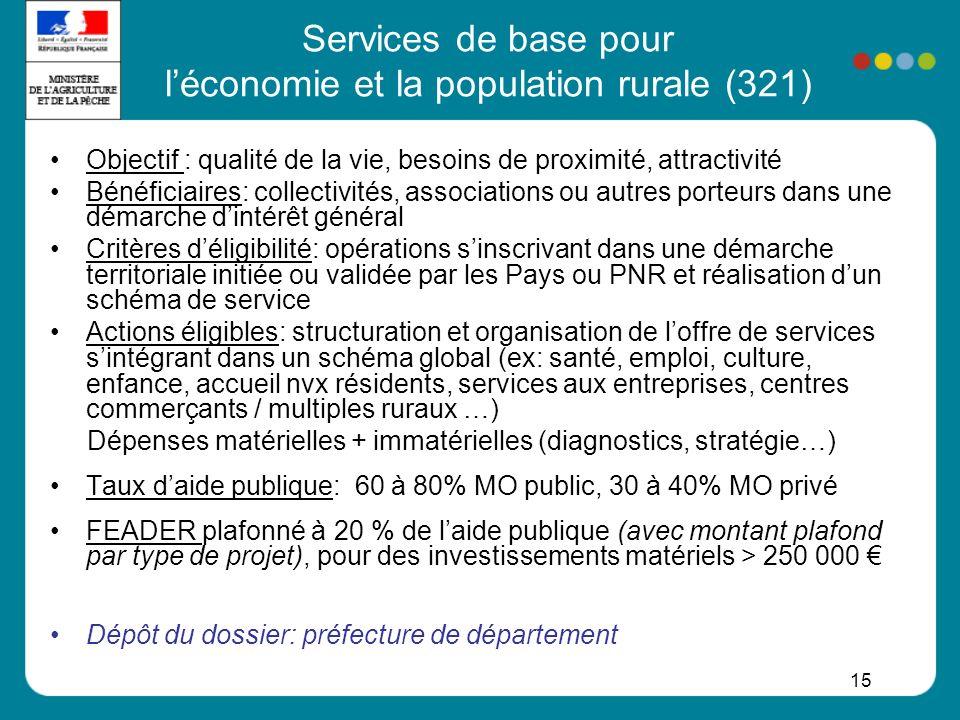 15 Services de base pour léconomie et la population rurale (321) Objectif : qualité de la vie, besoins de proximité, attractivité Bénéficiaires: colle