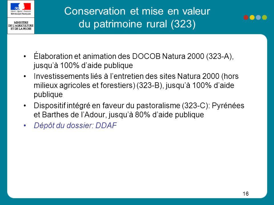 16 Conservation et mise en valeur du patrimoine rural (323) Élaboration et animation des DOCOB Natura 2000 (323-A), jusquà 100% daide publique Investi