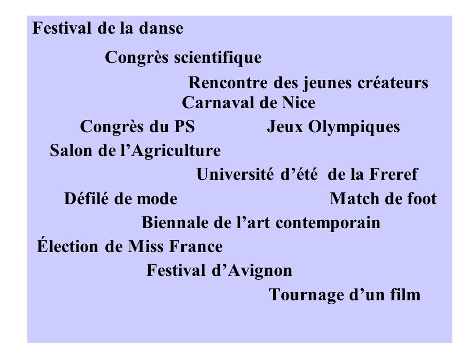 Festival de la danse Congrès scientifique Rencontre des jeunes créateurs Carnaval de Nice Congrès du PS Jeux Olympiques Salon de lAgriculture Université dété de la Freref Défilé de mode Match de foot Biennale de lart contemporain Élection de Miss France Festival dAvignon Tournage dun film