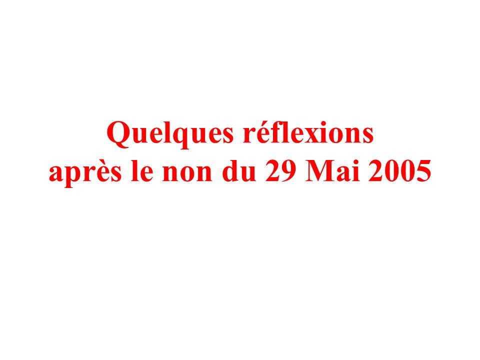 Quelques réflexions après le non du 29 Mai 2005