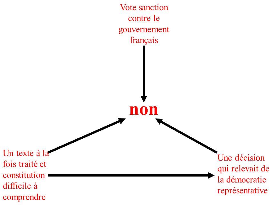 Vote sanction contre le gouvernement français Un texte à la fois traité et constitution difficile à comprendre non Une décision qui relevait de la démocratie représentative