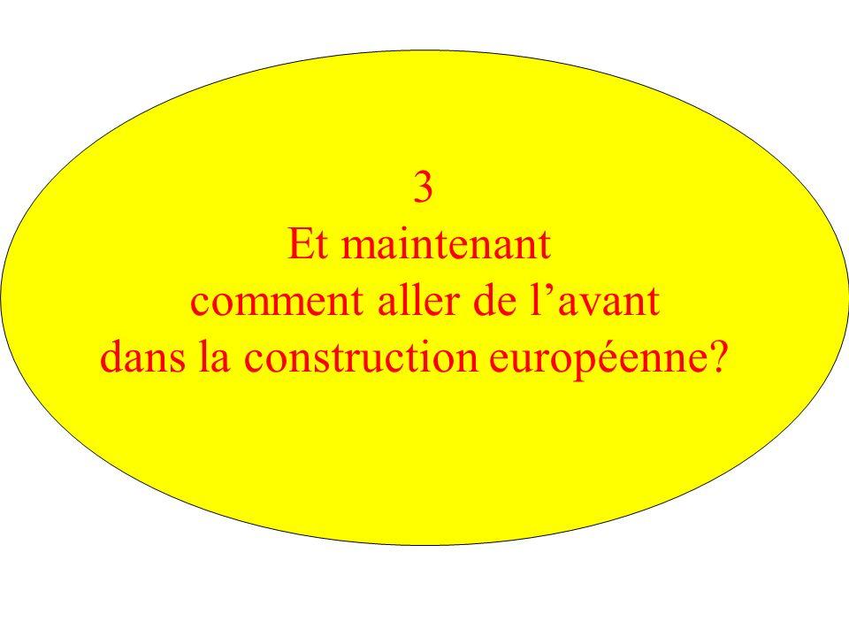 3 Et maintenant comment aller de lavant dans la construction européenne