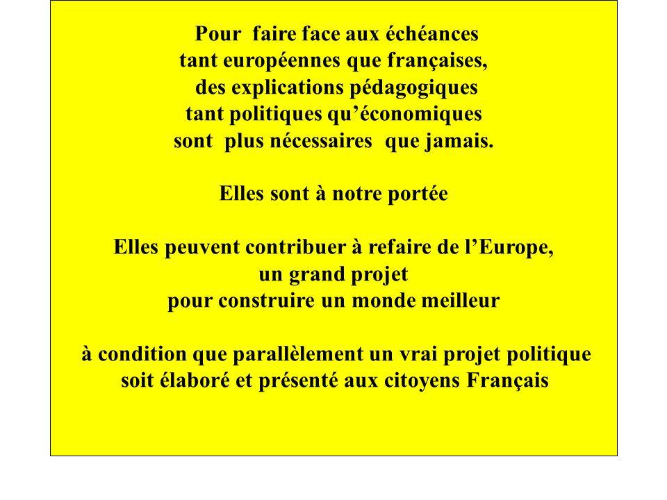 Pour faire face aux échéances tant européennes que françaises, des explications pédagogiques tant politiques quéconomiques sont plus nécessaires que j