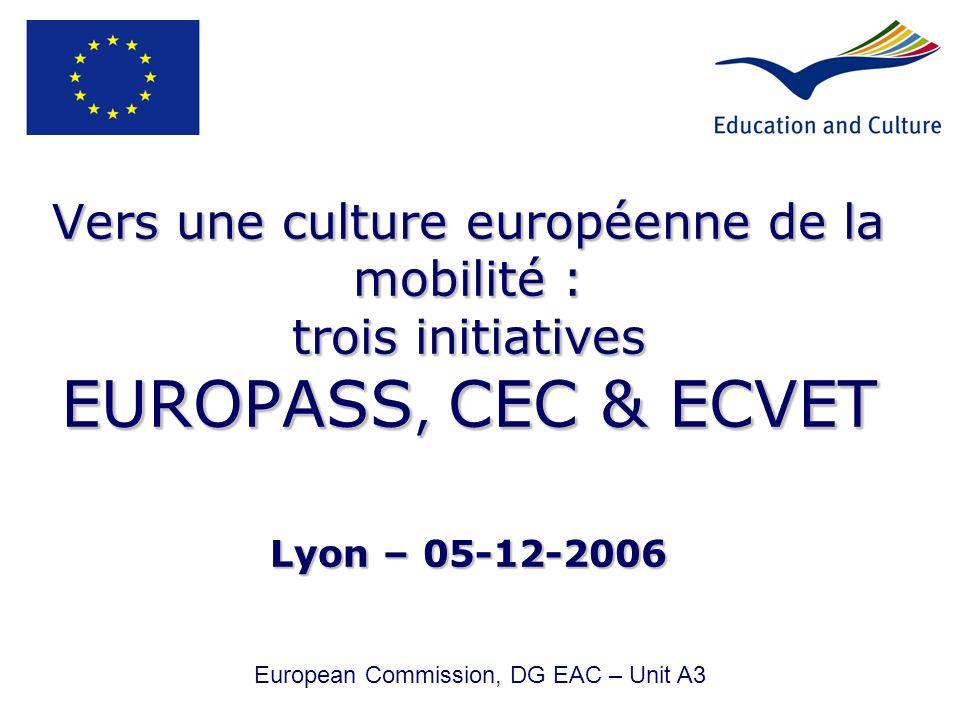 Vers une culture européenne de la mobilité : trois initiatives EUROPASS, CEC & ECVET Lyon – 05-12-2006 European Commission, DG EAC – Unit A3
