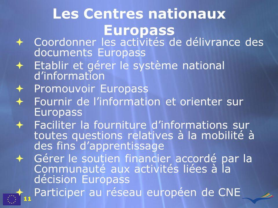 Les Centres nationaux Europass Coordonner les activités de délivrance des documents Europass Etablir et gérer le système national dinformation Promouv