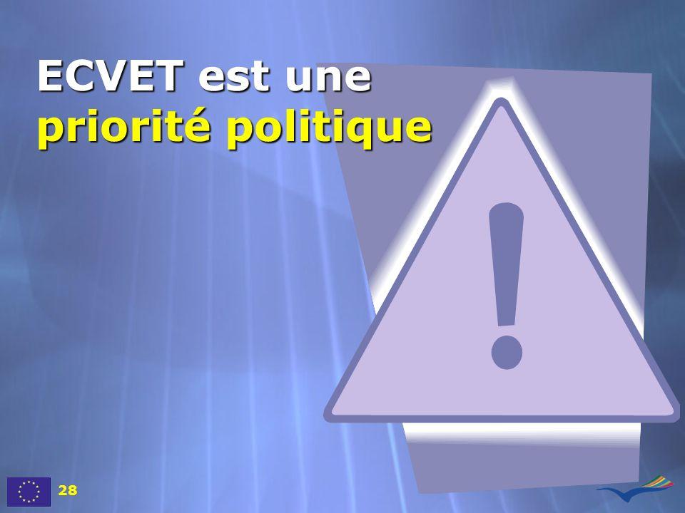 ECVET est une priorité politique 28