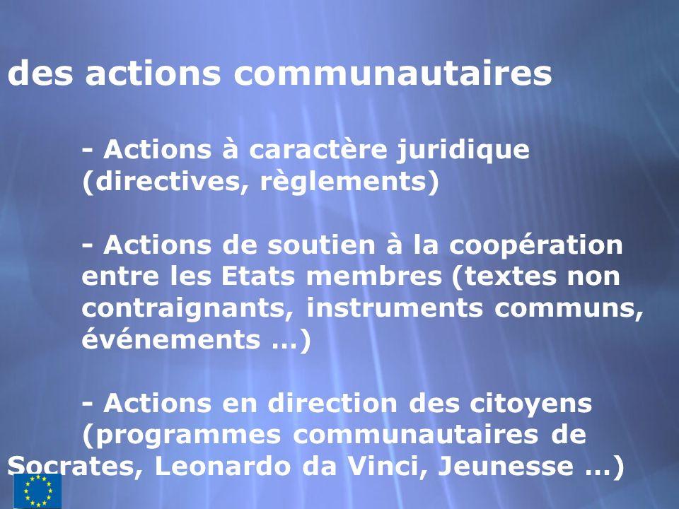 des actions communautaires - Actions à caractère juridique (directives, règlements) - Actions de soutien à la coopération entre les Etats membres(text