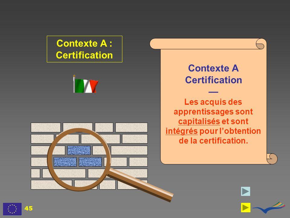 Contexte A Certification Les acquis des apprentissages sont capitalisés et sont intégrés pour lobtention de la certification. Contexte A : Certificati